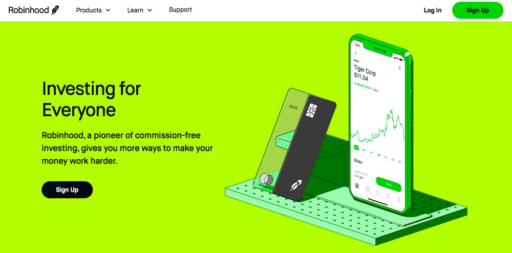 Website of Robinhood Bitcoin Wallet for iPhone and Android