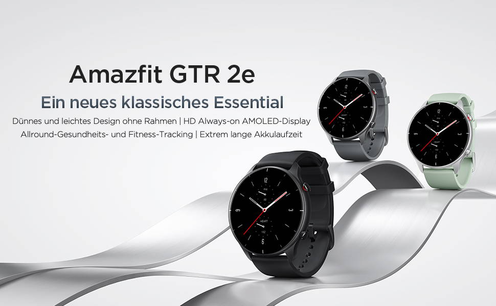 Amazfit GTR 2e - Ein neues klassisches Essential  Schlankes und leichtes, randloses Design | HD-Always-on-AMOLED-Display Umfassendes Gesundheits- und Fitness-Tracking | Überragende Akkulaufzeit
