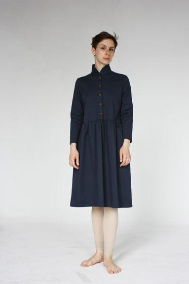 Платьес воротничком синее