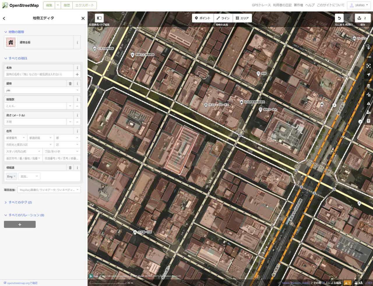 ブラウザー上で動作するOSMエディタ「iD」 © OpenStreetMap contributors