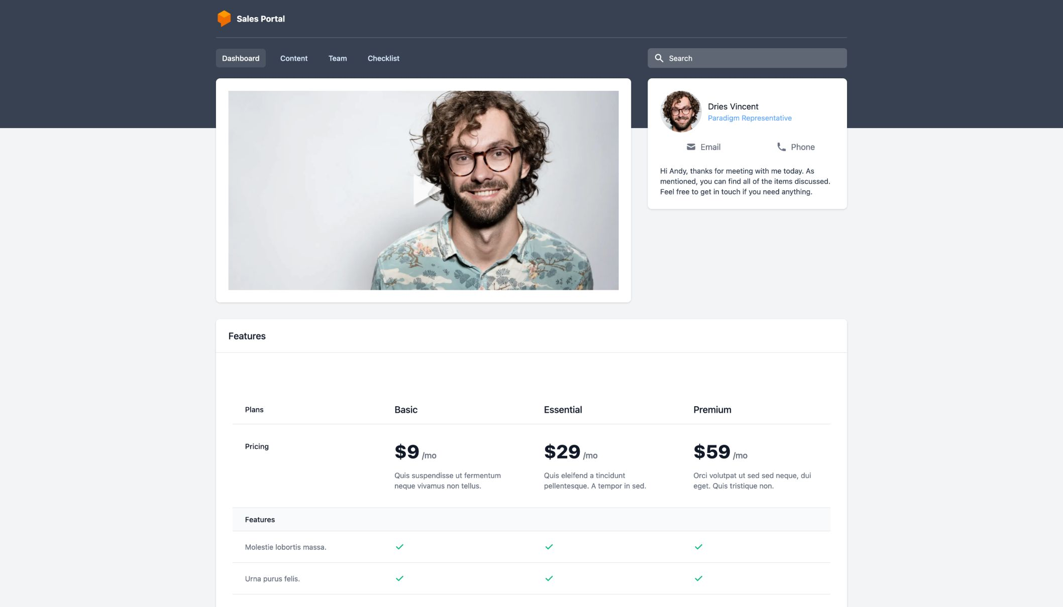 Sales follow up portal