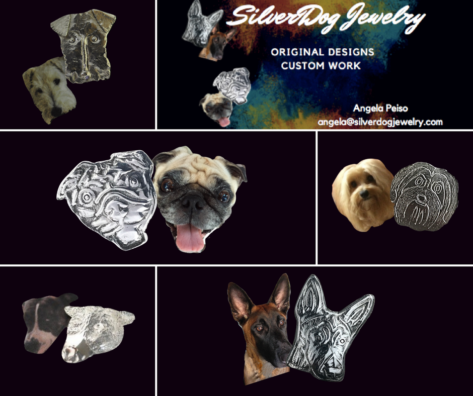 Collage of sterling silver dog pendants at silverdogjewelry.com