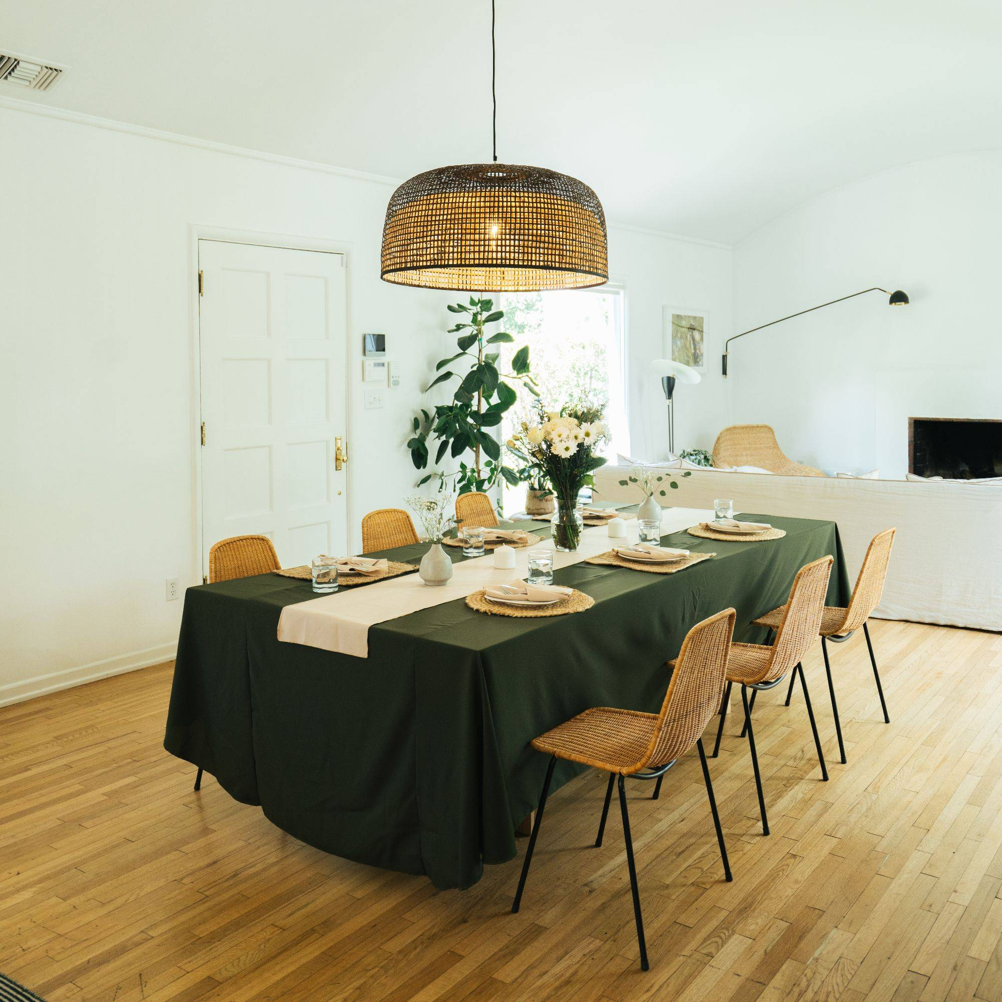 LA Linen Poplin Rectangular Tablecloth, Olive Color, Napkins, Table Runner, Khaki color, table set up, home decor, interior, dining