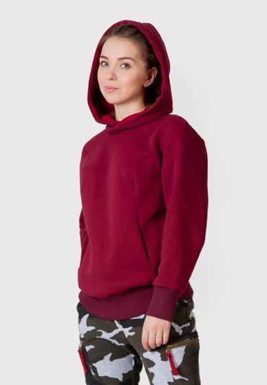 Толстовка бордового цвета с объемным капюшоном