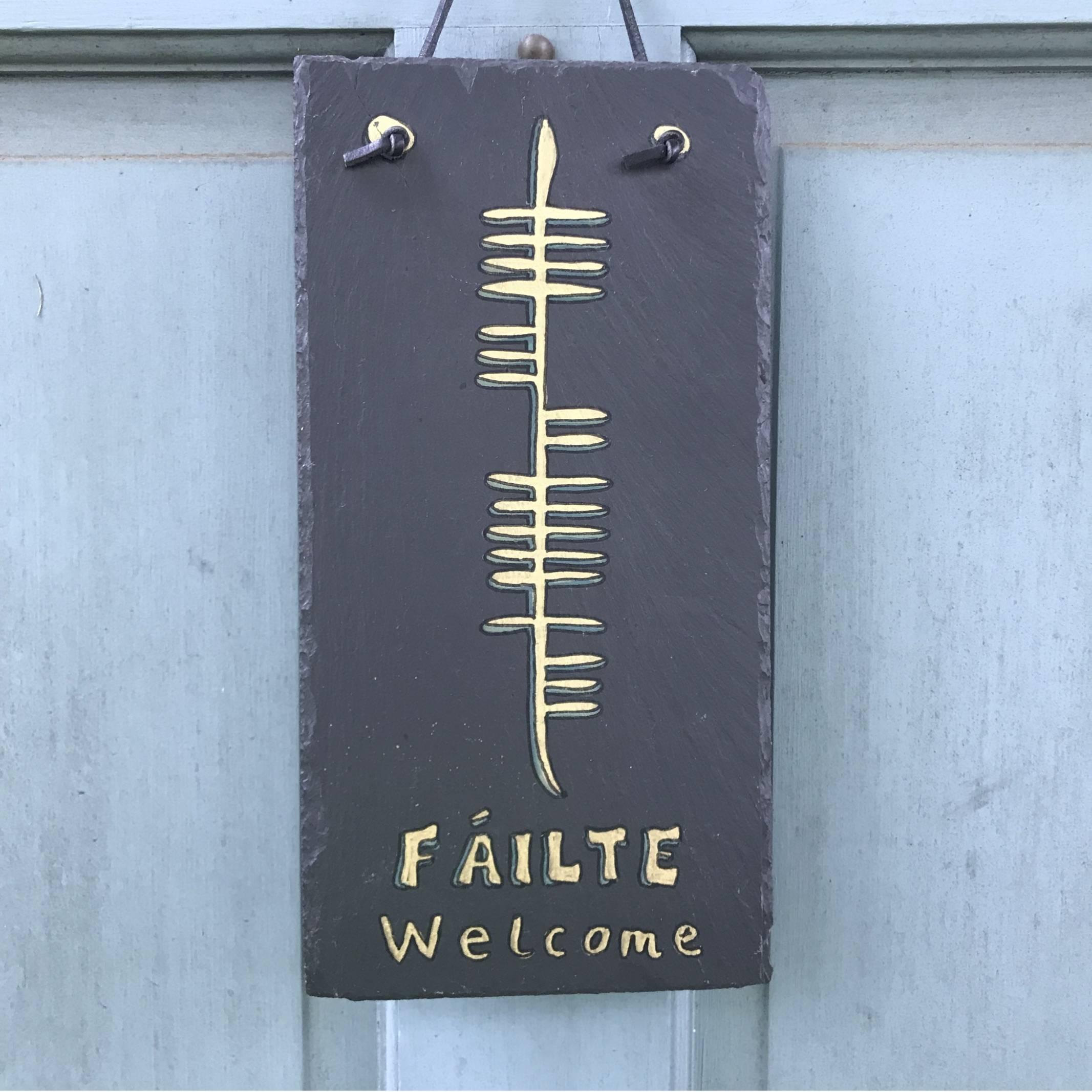 Ogham Art Welcome Failte Slate Plaque Celtic Festival Online