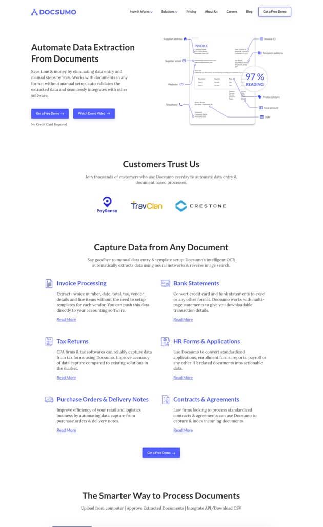 Docsumo.com website screenshot