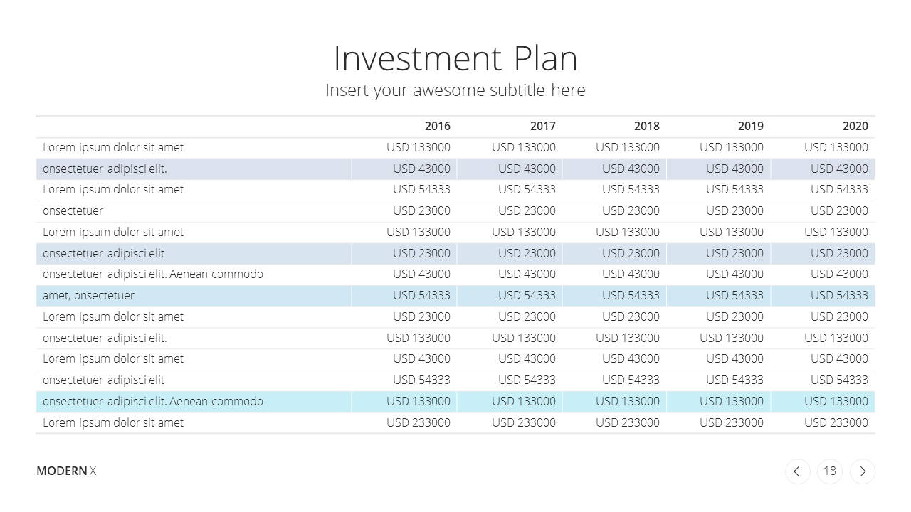 Modern X Consulting Firm Proposal Presentation Template Investment Plan