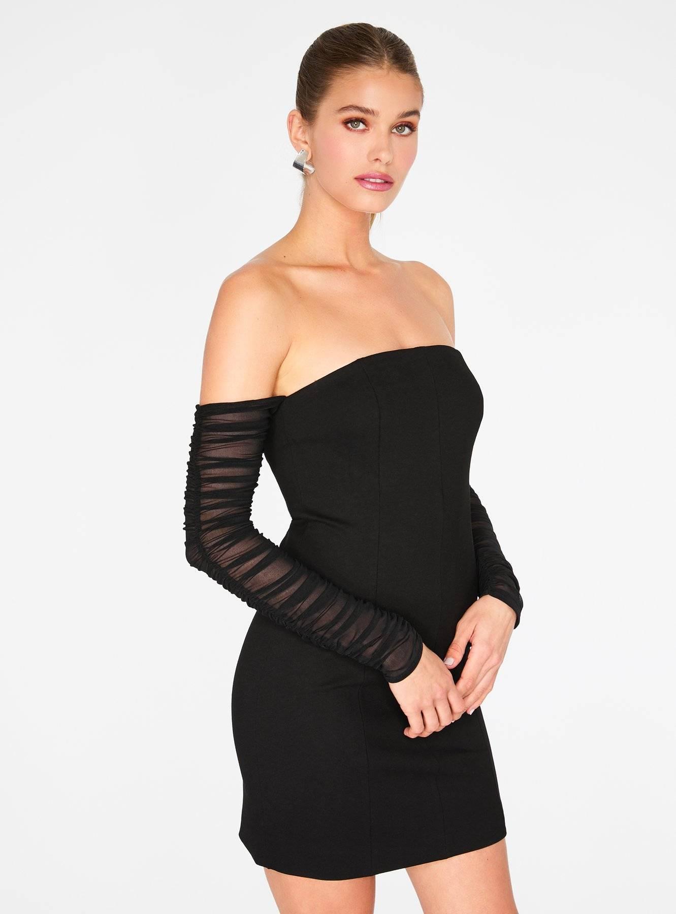 Black Off the Shoulder Ruched Sleeve Mini Dress