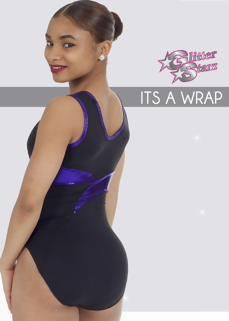 glitterstarz wrap leotard custom bling black purple metallic for gymnastics dance
