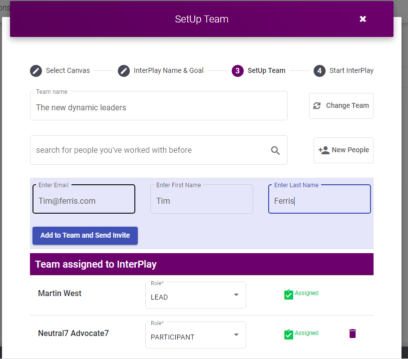 setup team interface for inviting teams to participate