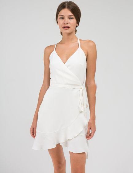 Белое платье на лямочках, натуральная ткань