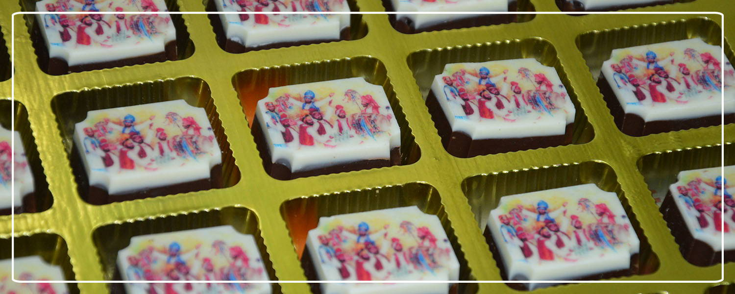Bhangra printed chocolates for punjabi wedding