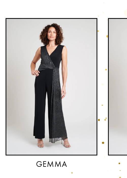 Shop Gemma Black & Silver Glitter Jumpsuit >