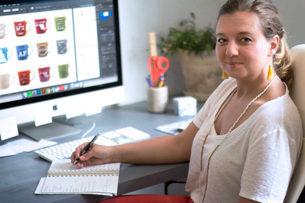 Primitive Beginnings New large ceramic custom mugs graphic design interview product launch