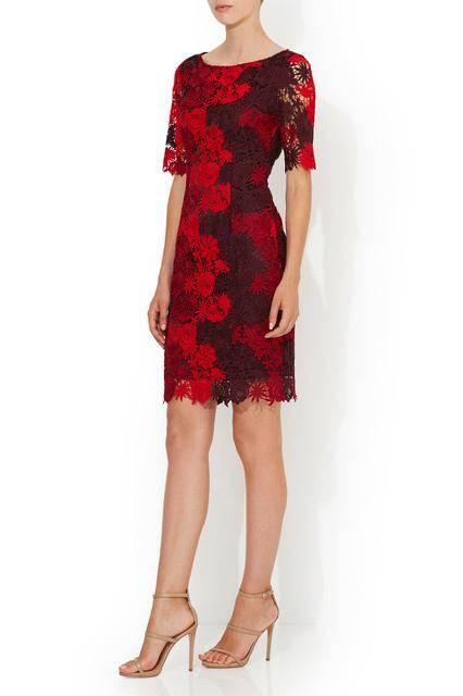 MONTIQUE GRACE SHIFT DRESS RED LACE