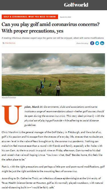 Golf Digest discuss golf and coronavirus