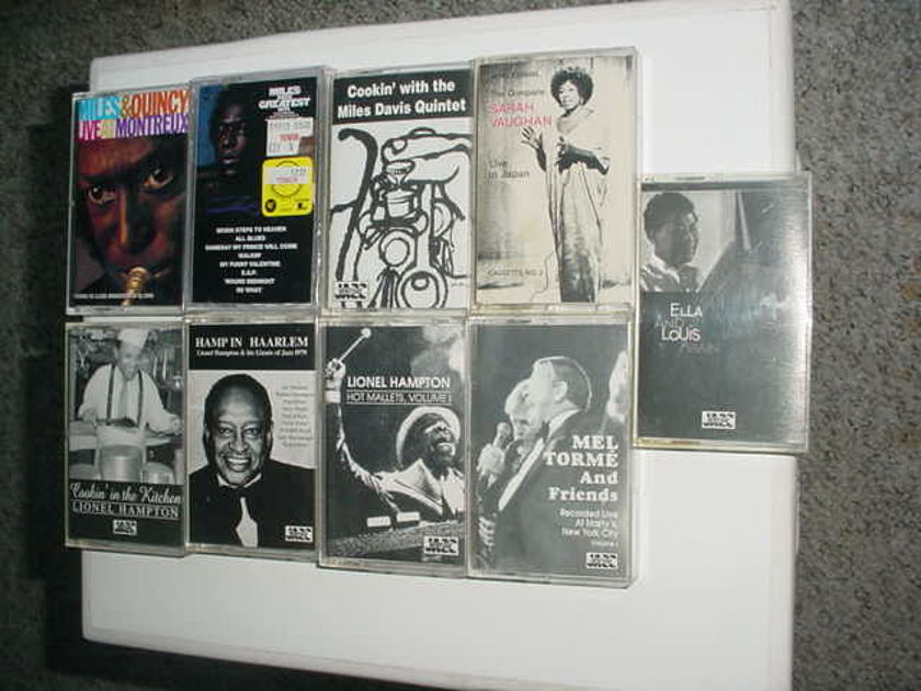 Miles Davis Lionel Hampton Mel Torme Ella Louis  - more lot of 9 jazz audio cassette tapes