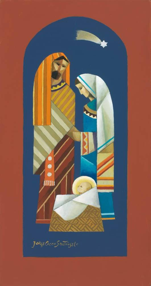 Vertical, modern LDS art painting of the Holy Family.