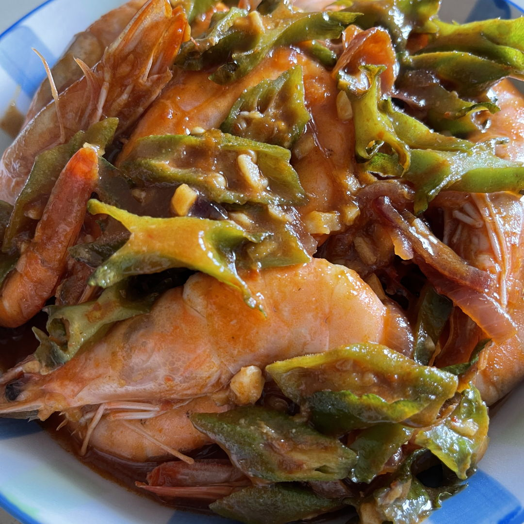 Tom yam prawn with lady finger and winged bean