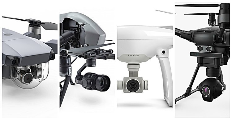 Left to Right: DJI Mavic Pro, DJI Inspire 2, DJI Phantom 4, Yuneec Typhoon H