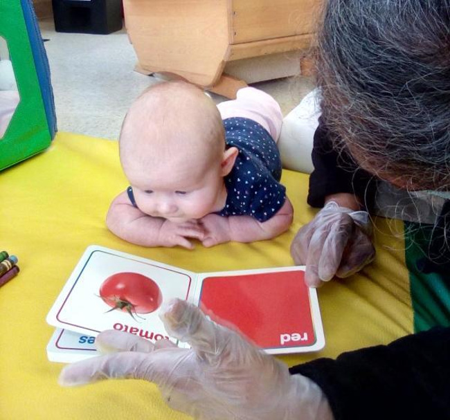 An infant on their belly looking at a book of colors with their teacher who is laying down next to her showing the book