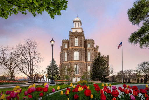Logan Temple amid colorful tulips.