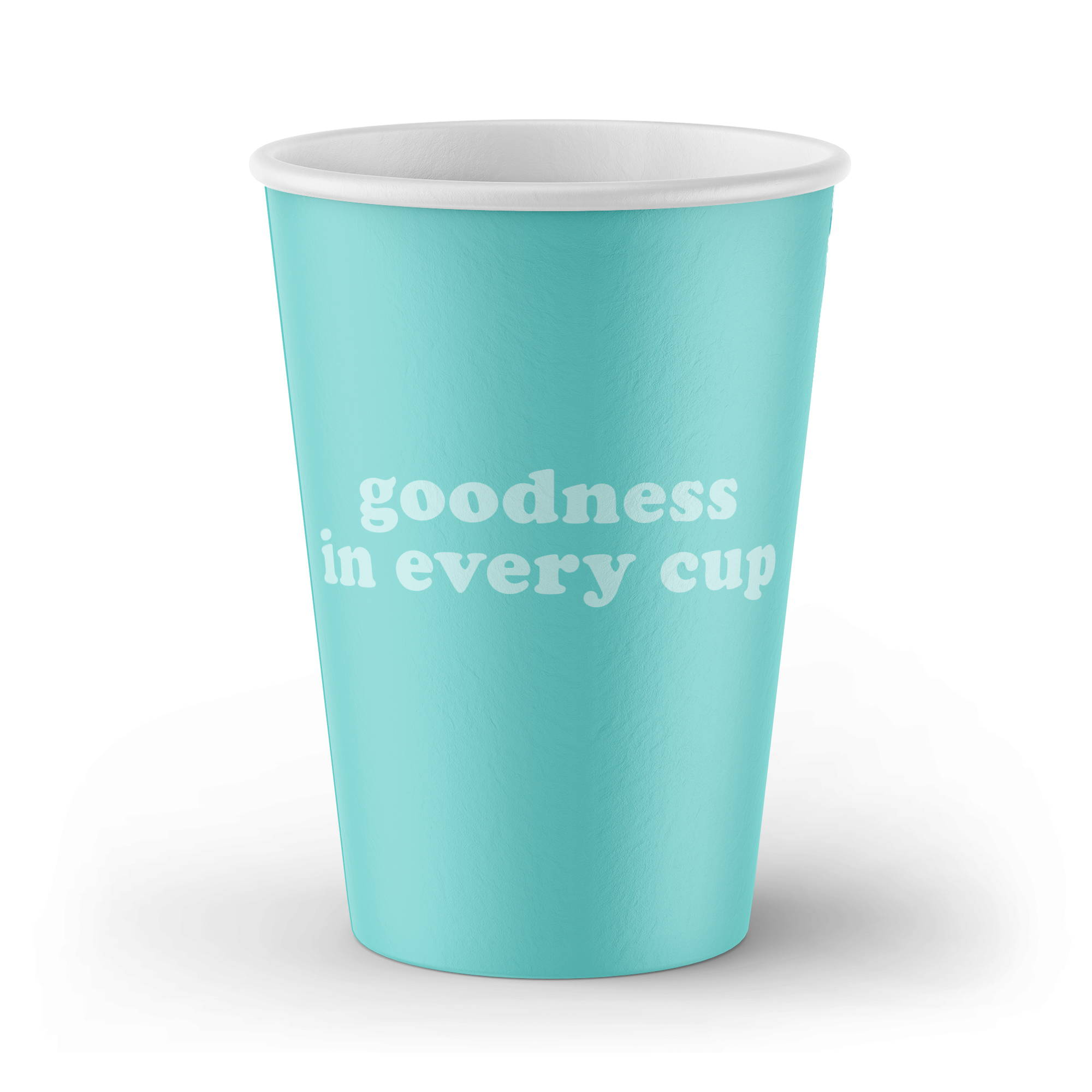 """biodegradable cups, custom cups with """"goodness in every cup"""" design"""