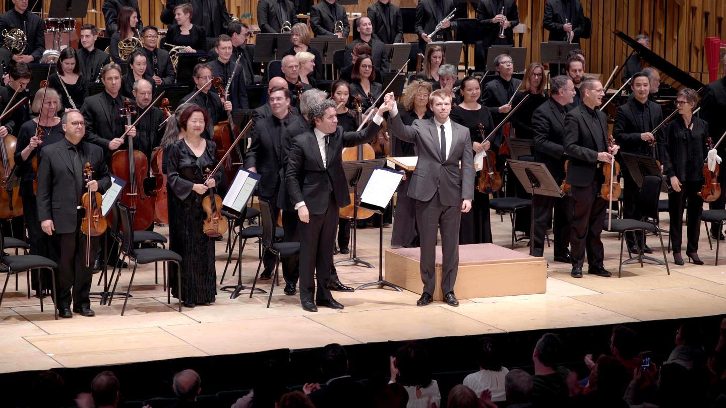 Norman with Dudamel and the Orchestra at the world premiere performance