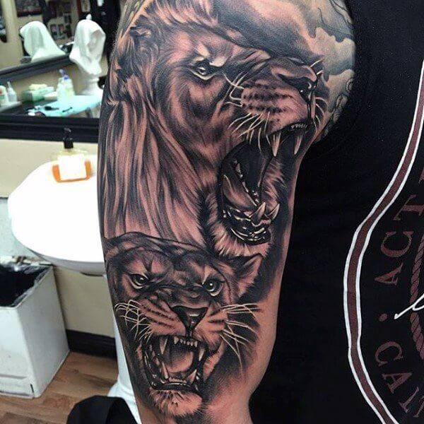 Tatouage Lion et Lionne Bras Homme