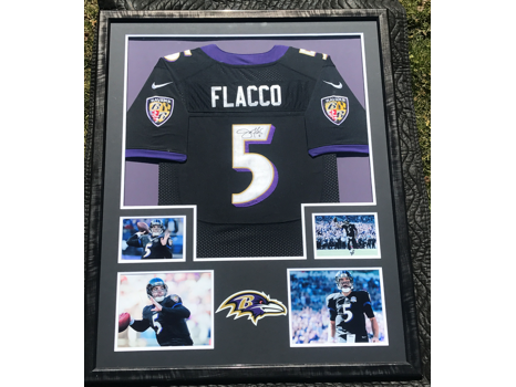 Signed and Framed Flacco Jersey with Pictures