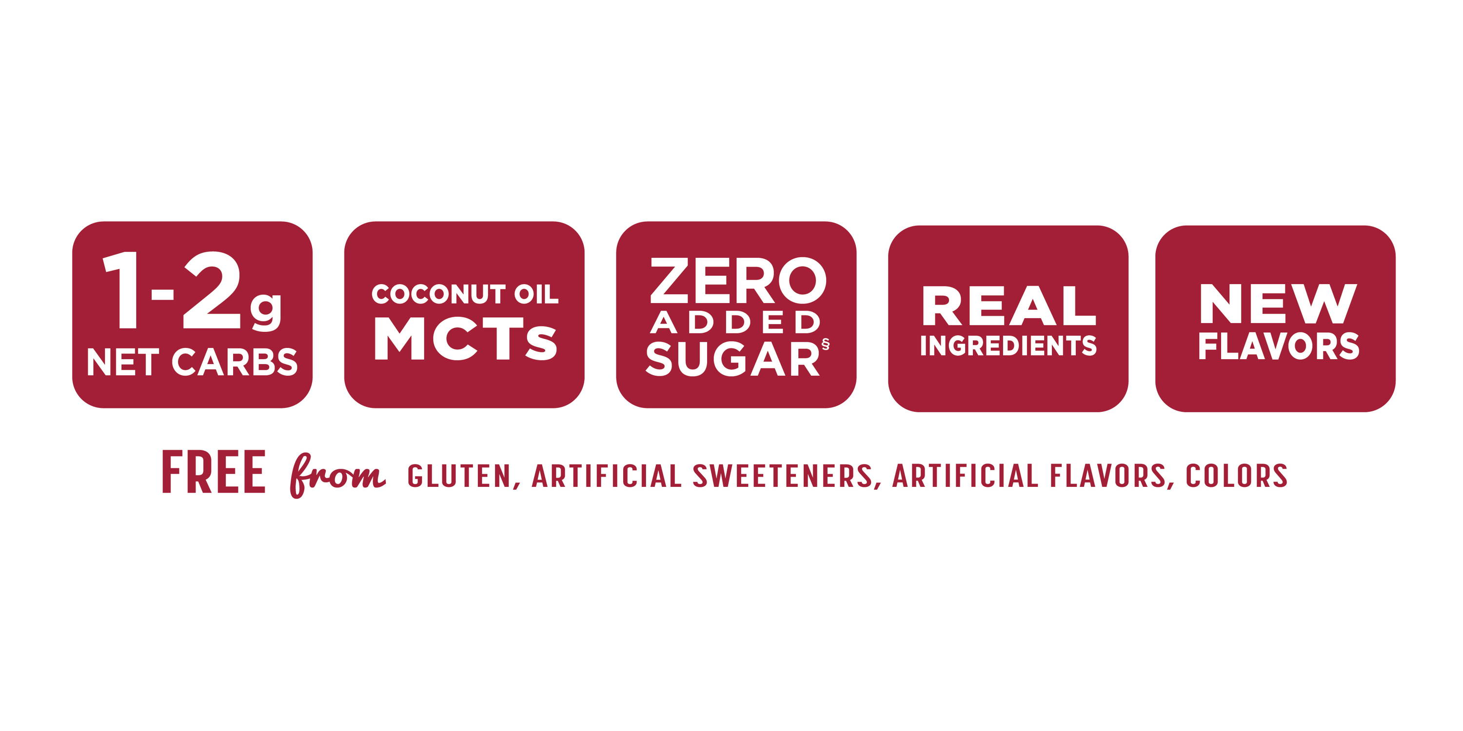 1-2g net carbs, coconut oil MCTs, zero added sugar, real ingredients, new flavors: free from gluten, artificial sweeteners, artificial flavors, colors