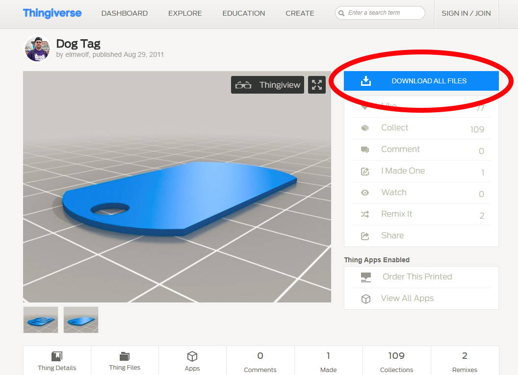 Begin By Downloading A Blank Dog Tag File We Found A Great One On Thingiverse That Was Designed By Elmwolf You Can Download It Here