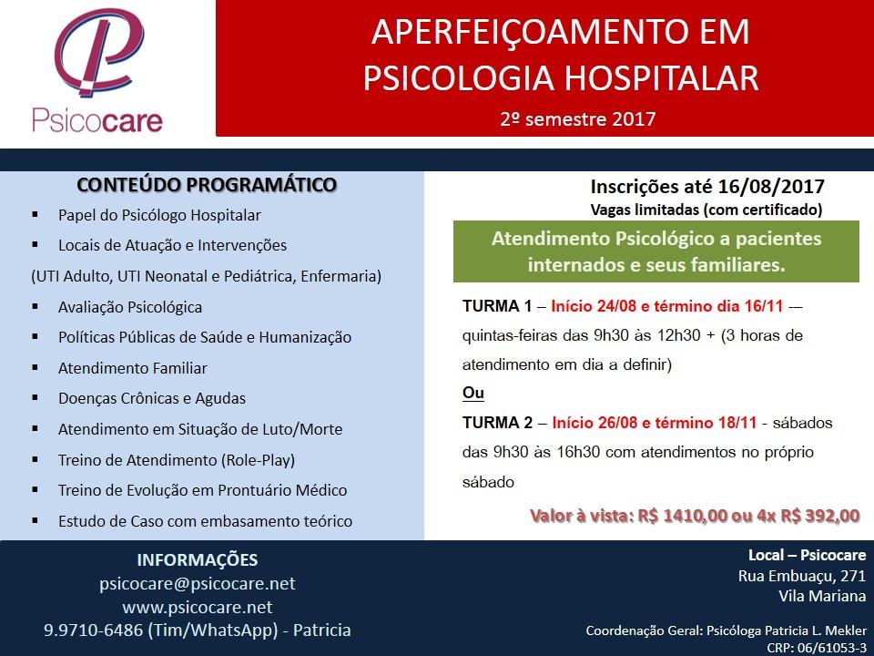Aperfeiçoamento em Psicologia Hospitalar - 2 sem 2017
