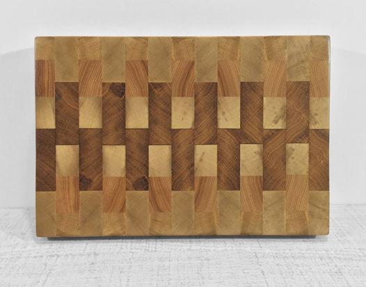 """Торцевая разделочная доска из древесины с узором """"Меандр"""""""