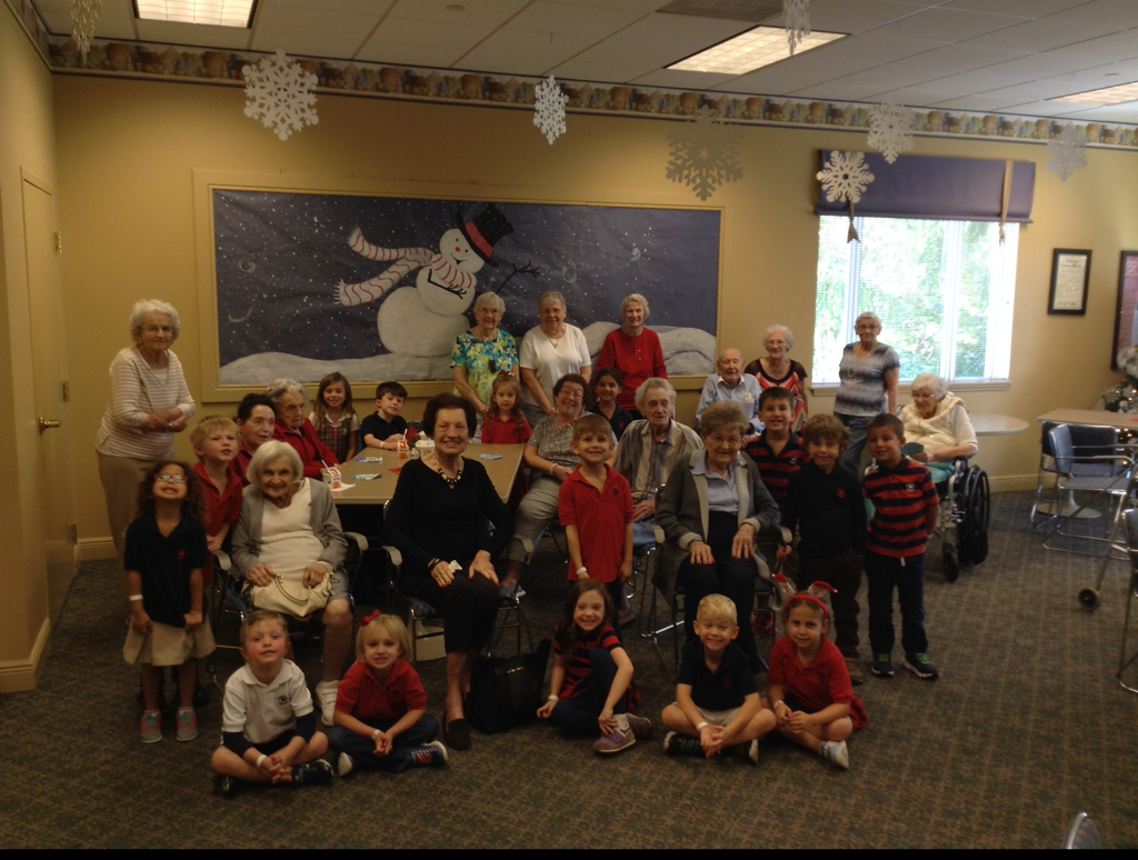 Photo of Primrose Kindergarten students with residents of the Windsor
