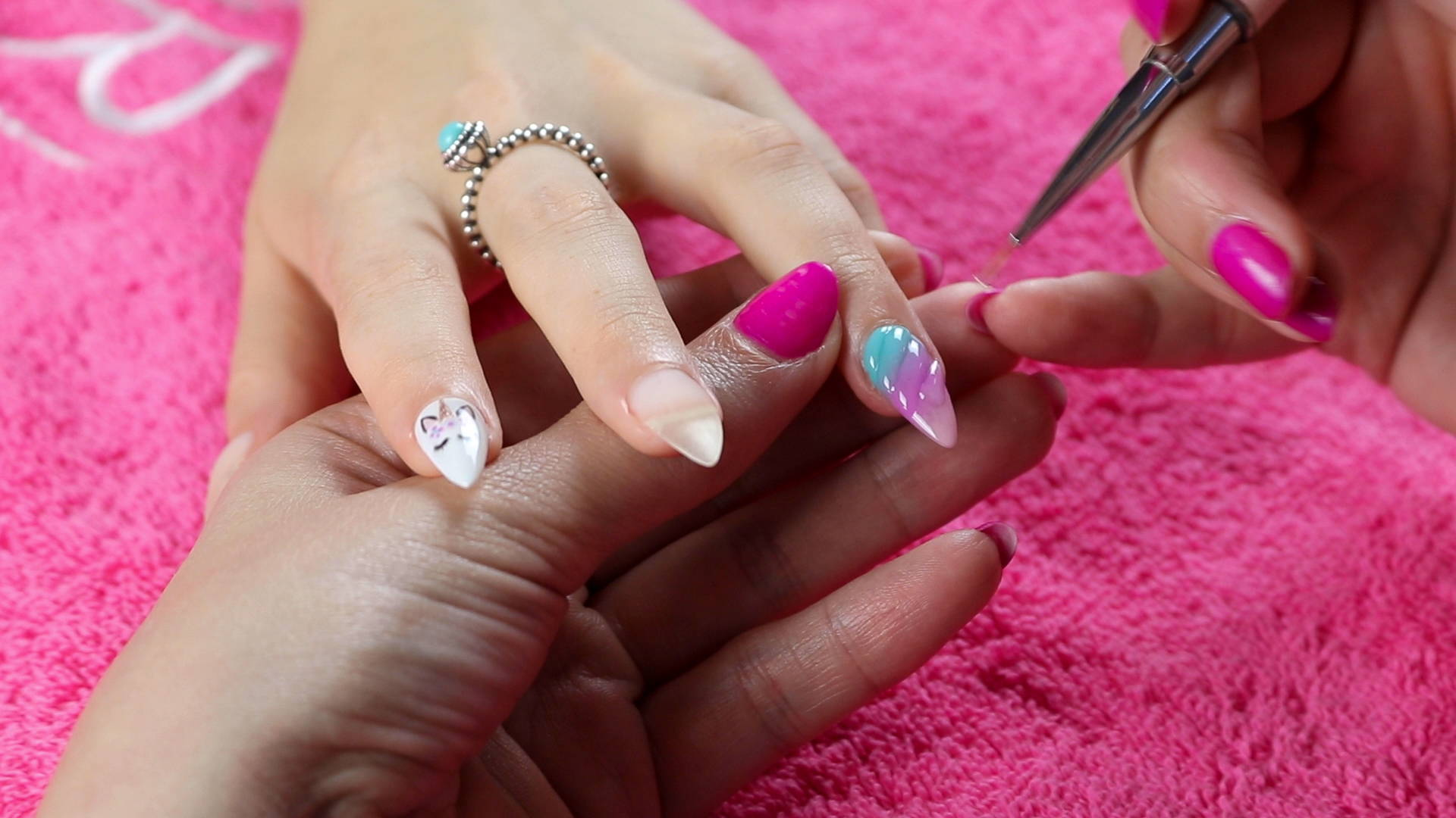 3D Unicorn nail art detailing being added to a nail using ORLY GelFX Builder In A Bottle
