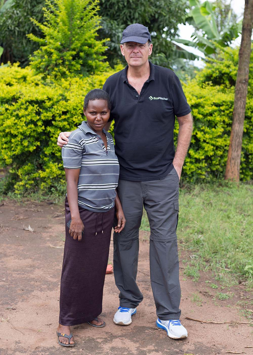 Picture of Bas Fransen, founder of Eco Matcher, with Nassange, one of the trees planter
