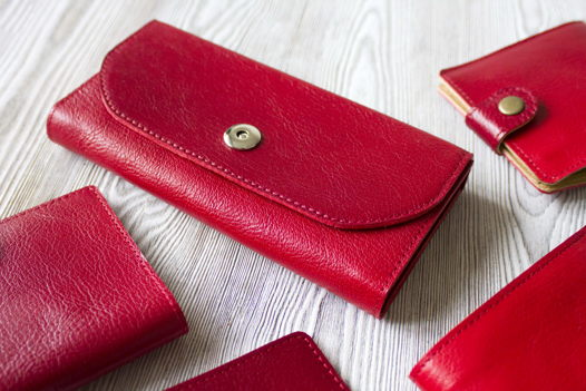 """Красное женское портмоне из натуральной кожи """"Фруктовая карамель"""""""