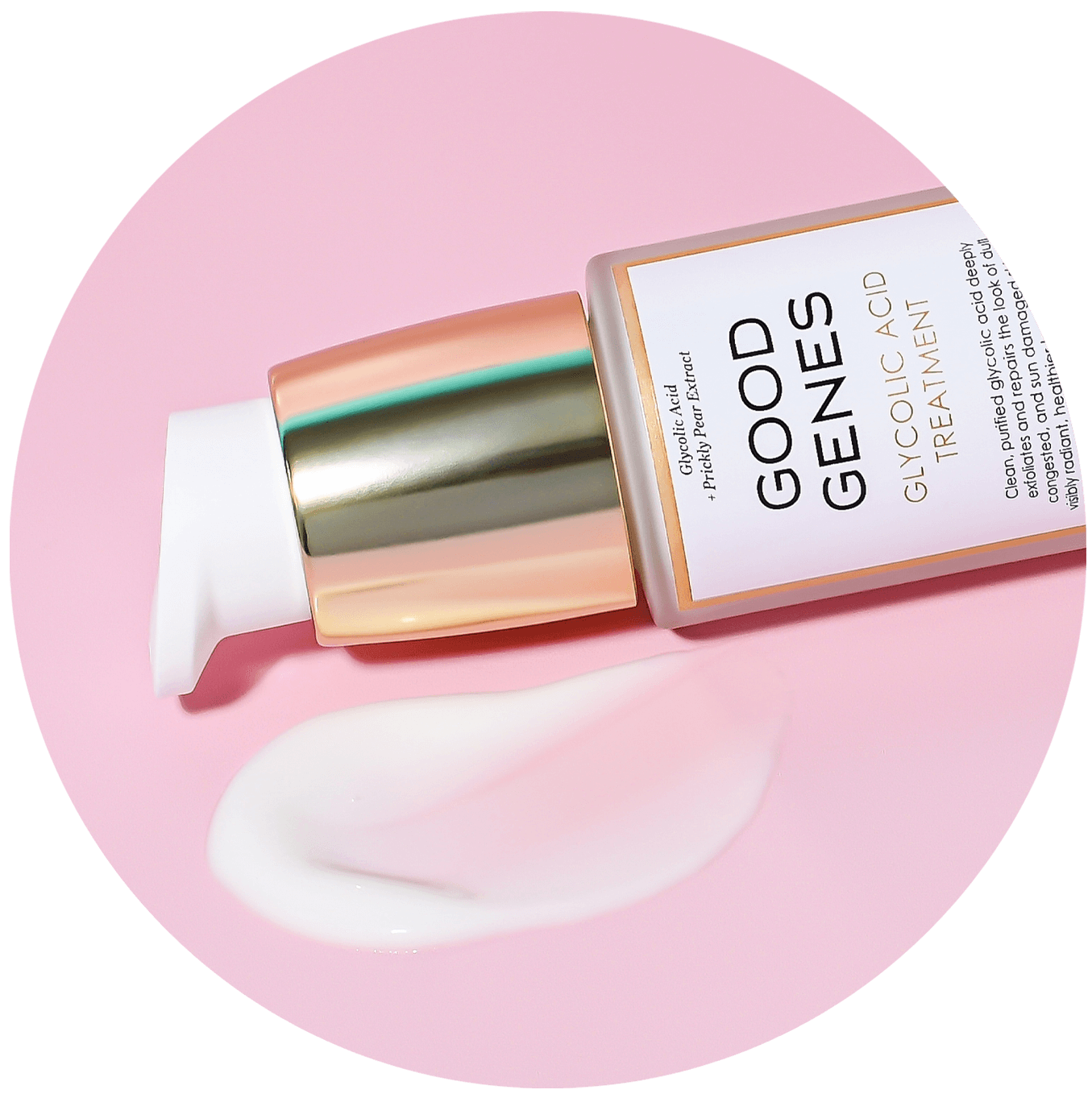 good genes glycolic acid treatment bottle with goop on pink background