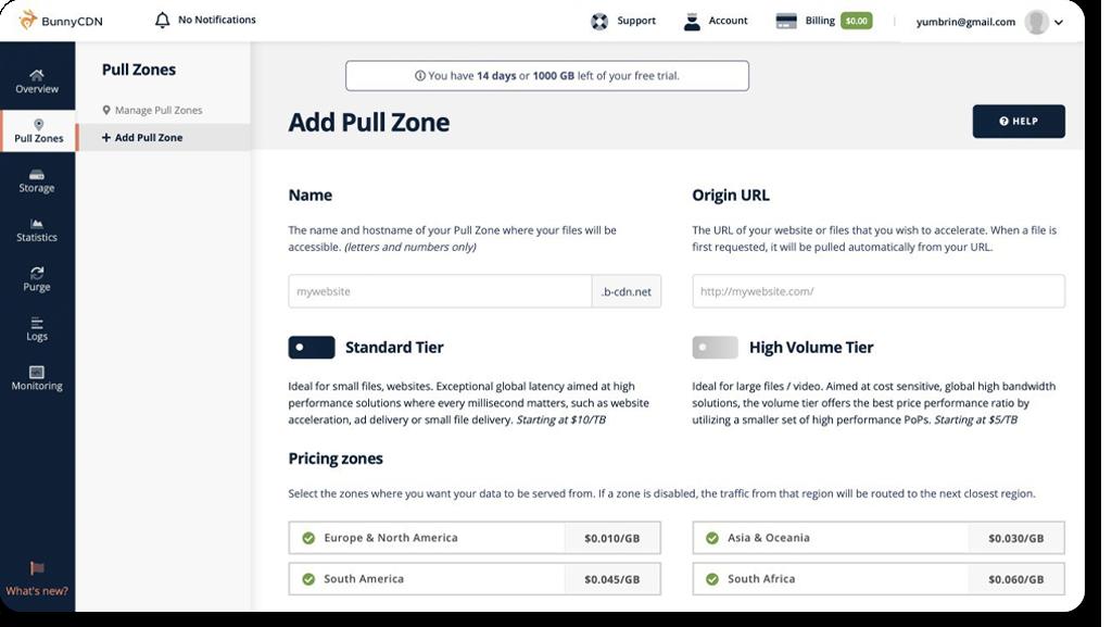 Bunny CDN web interface: adding pull zones