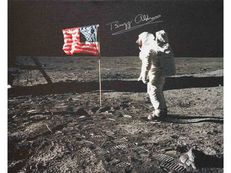 US FLAG ON THE MOON CANVAS SIGNED BY BUZZ ALDRIN