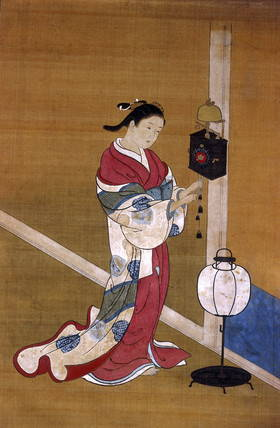 painting of woman wearing long kimono from 1700-1750
