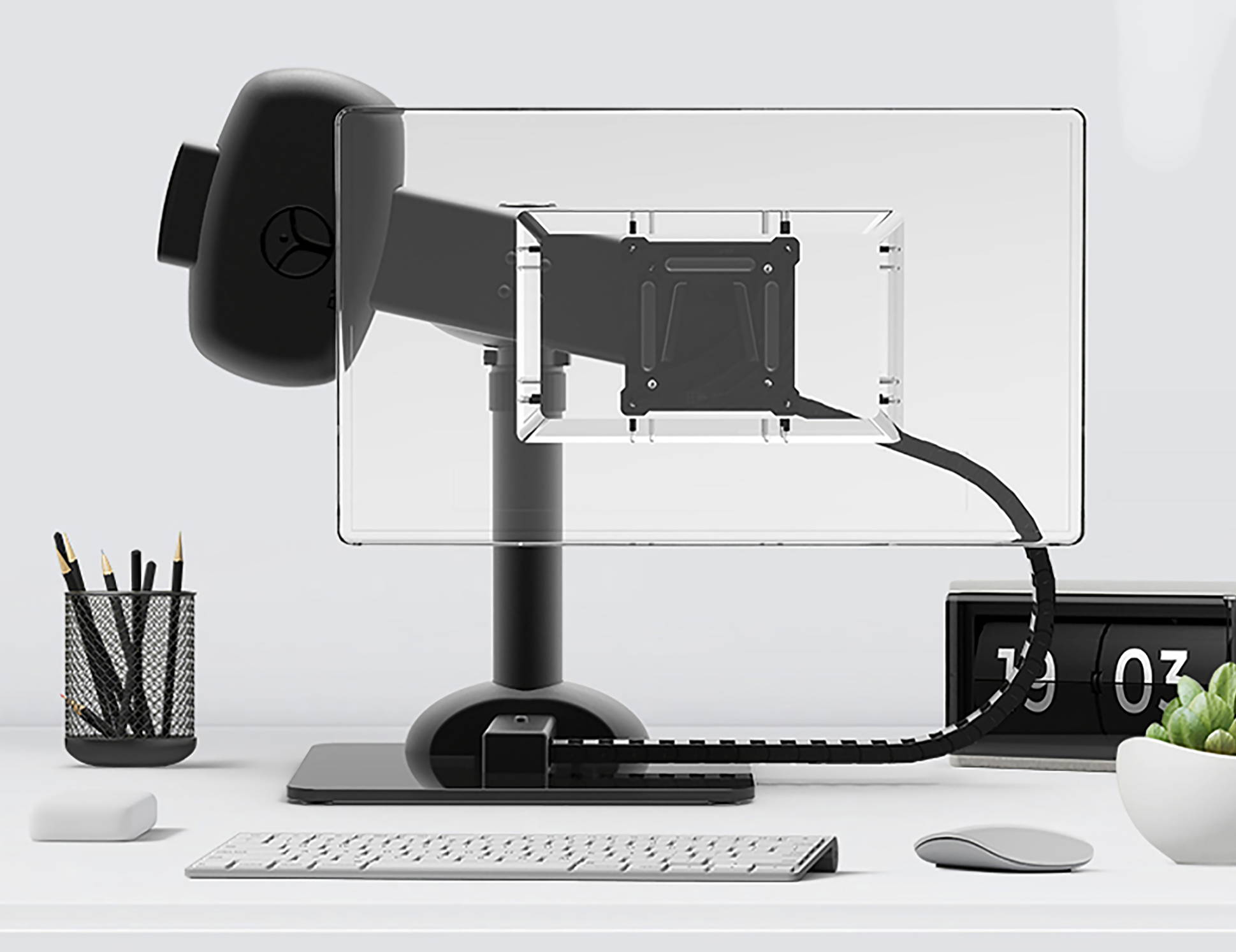Rotating monitor arm for computer neck pain posture
