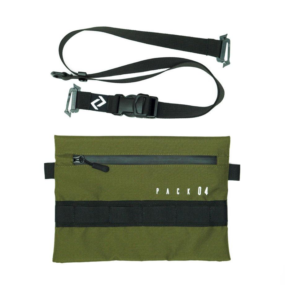 Оливковая сумка - мессенджер со светоотражающим принтом