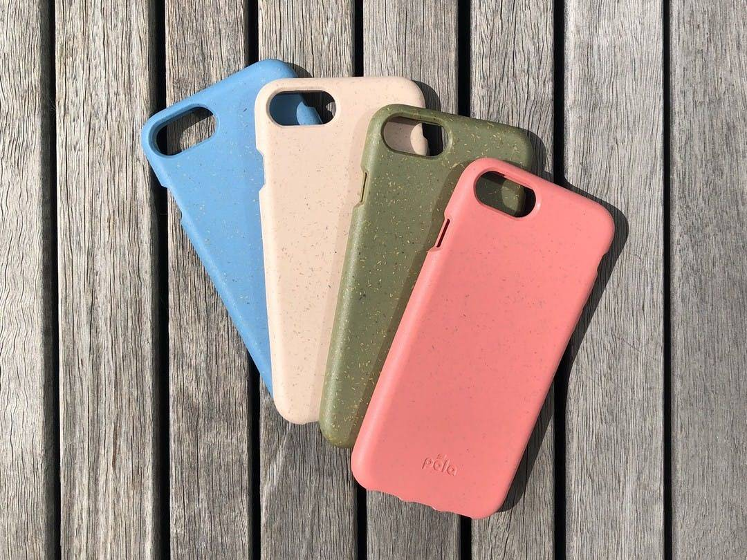 a collection of different colored pela cases