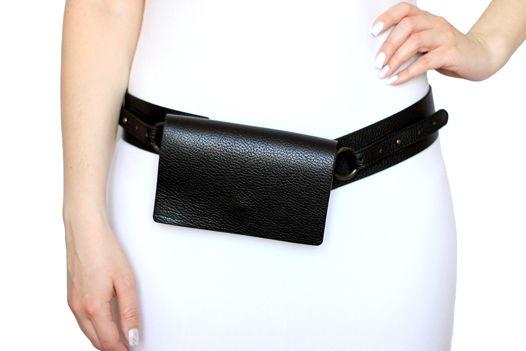 Черная поясная кожаная сумка