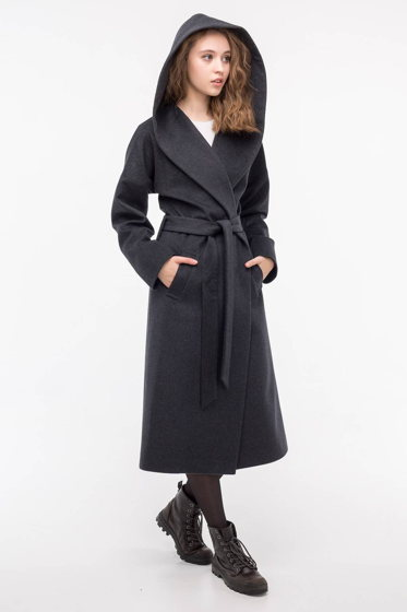 Пальто-халат с капюшоном серое