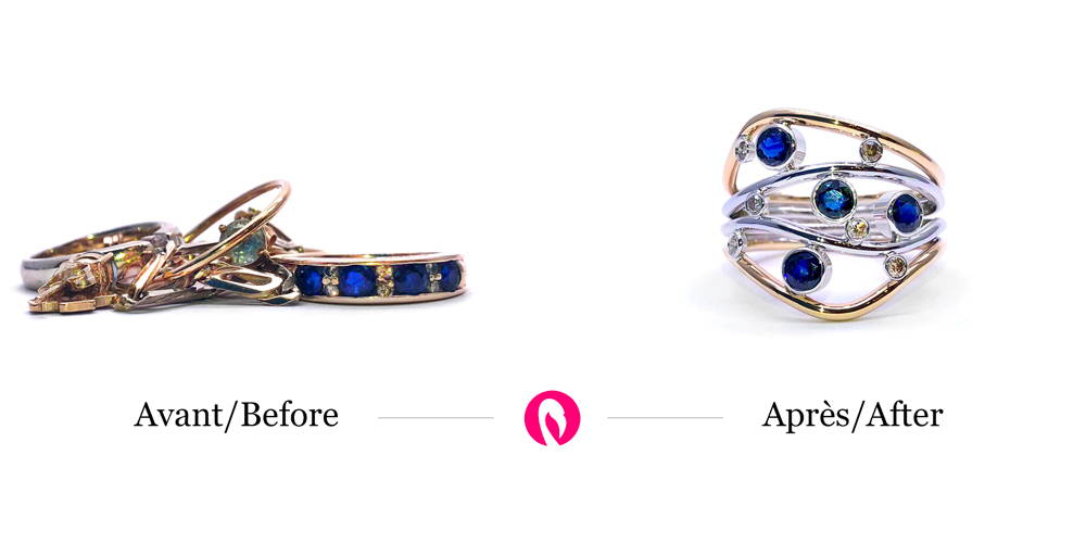 Transformation of a ring with sapphires and other jewels in gold for a modern ring with sapphires called Starry Night