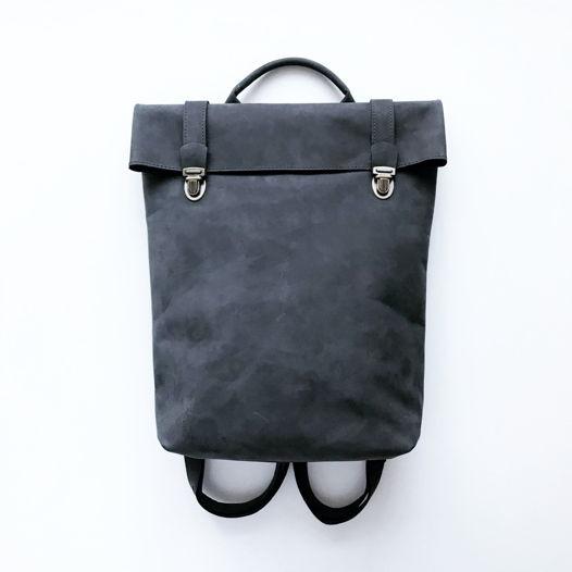 Кожаный рюкзак Vertical Gray Nubuck