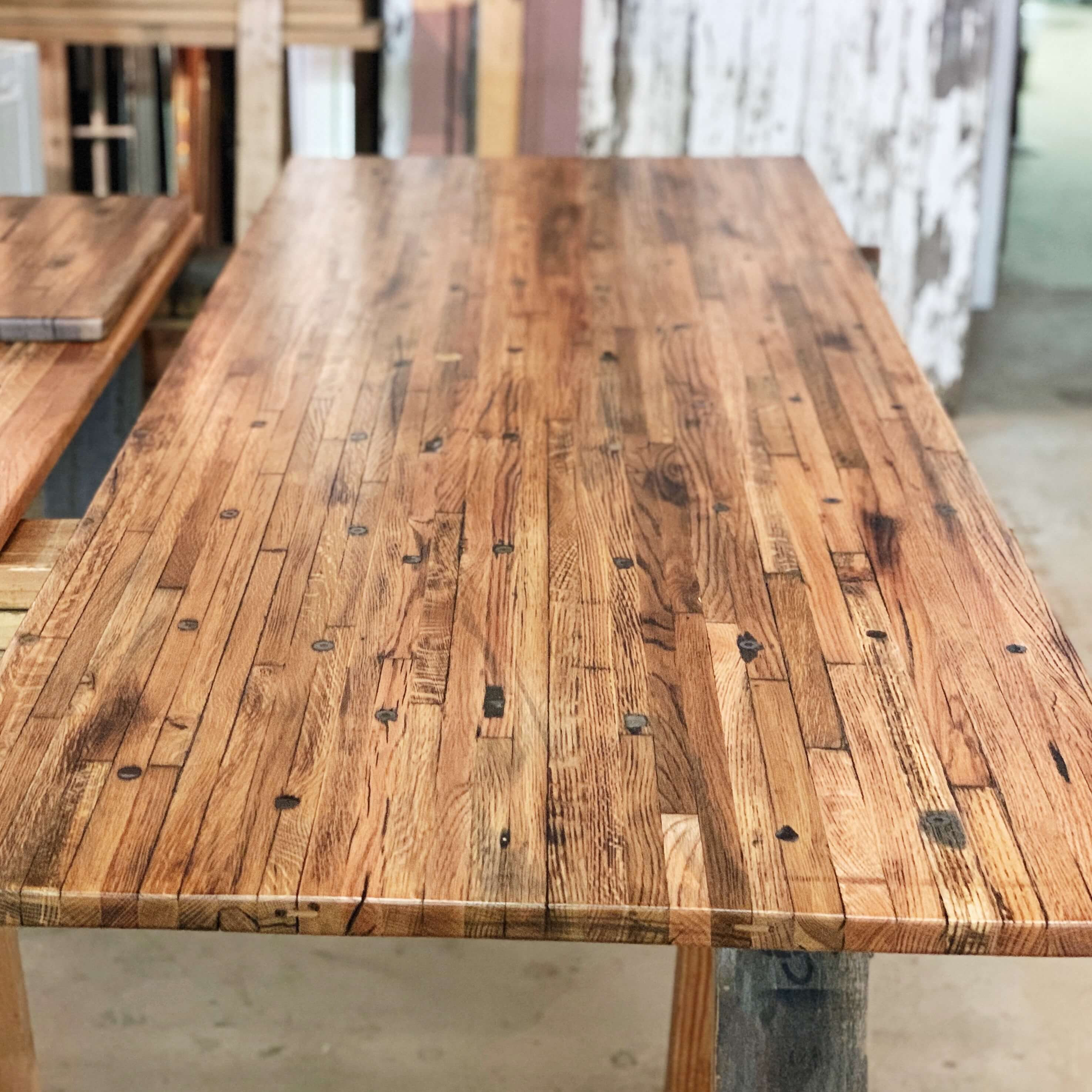 oak butcher block table with dark stain